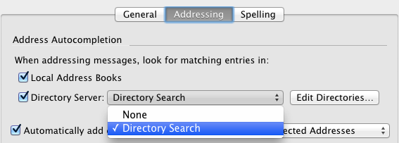 composition - addressing tab - directory selection screen
