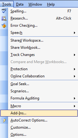 Excel 2003 Tools Menu