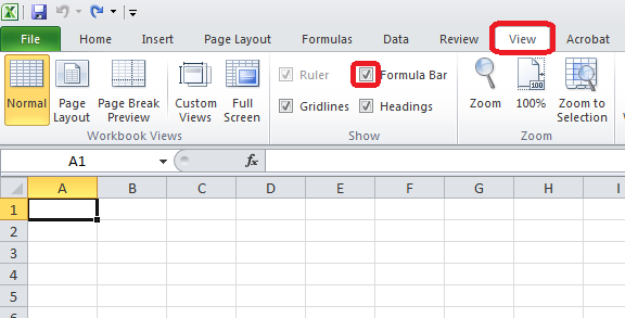 Excel 2010 Formula Bar Option