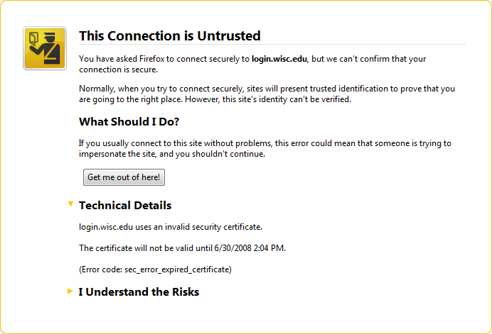 This Connection is Untrusted - You have asked Firefox to connect securely to login.wisc.edu, but we can't confirm that your connection is secure.