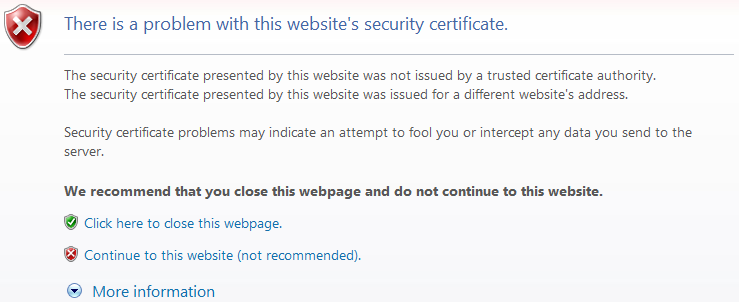 There is a problem with this website's security certificate.