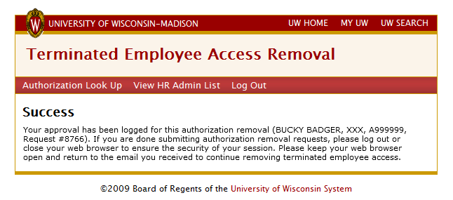 Success - your approval has been logged for this authorization removal