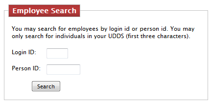 The Login ID and Person ID search fields are shown along with the Search button