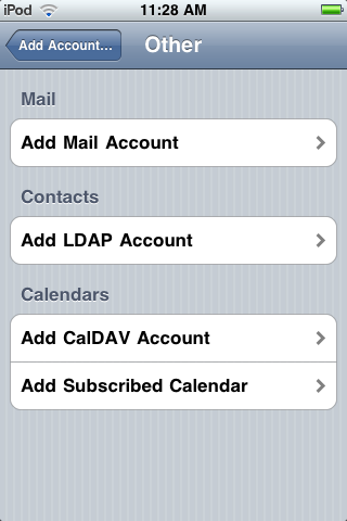 Add LDAP Account menu