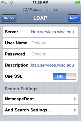 LDAP Settings menu
