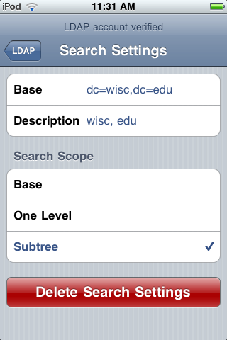Search Base settings menu