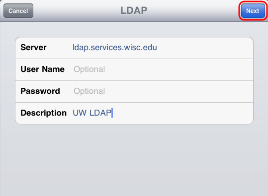 Enter in LDAP information.