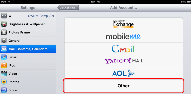 Select Mail, Contacts, Calendars, click Add Account, and then touch Other