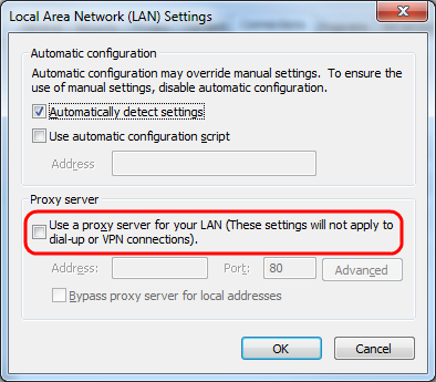 Make sure Use a proxy server for your LAN is unchecked.