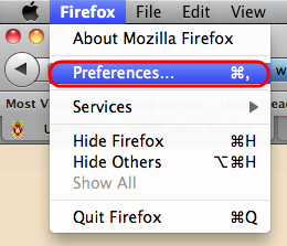 Click Firefox, then Preferences.