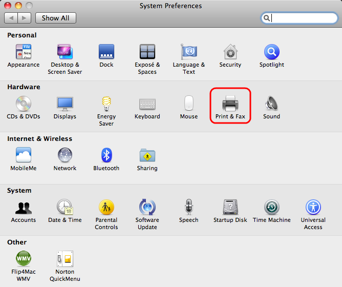 Open System Preferences and select Print & Fax.