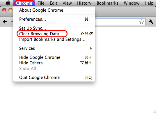 Chrome > Clear Browsing Data...