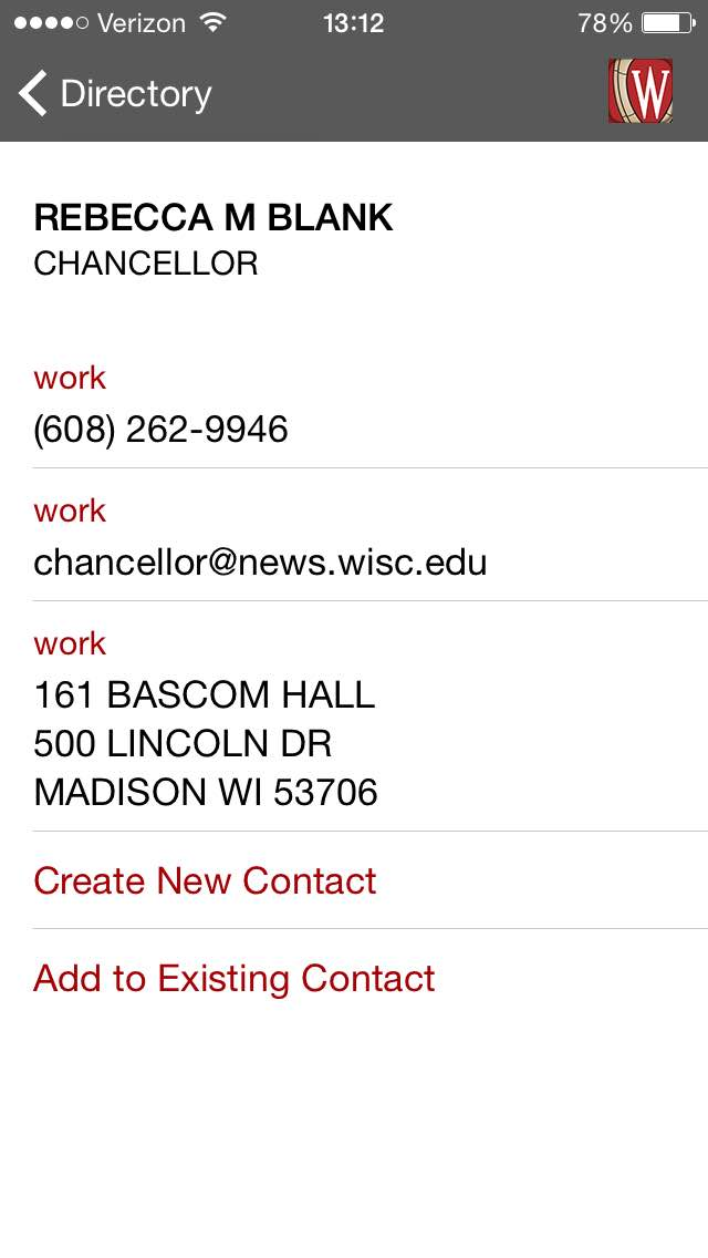 Chancellor Martin's contact information is displayed following a search