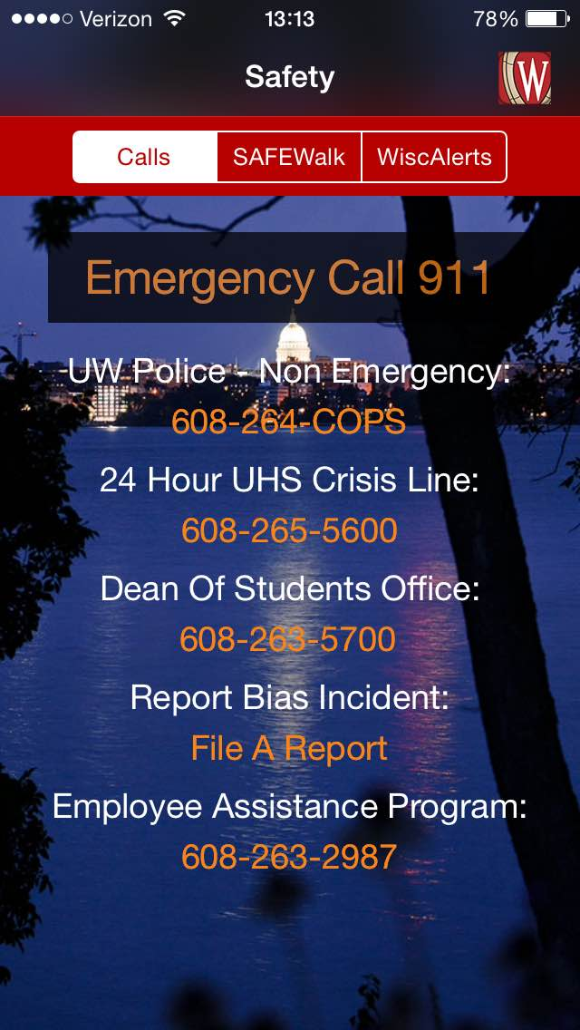 The Emergency tab of the Campus Safety module is shown with phone numbers for various emergency services listed