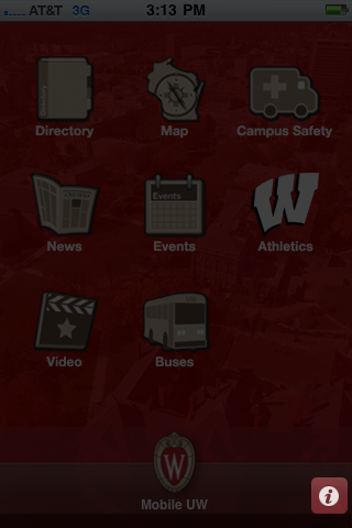 A screenshot of the Mobile UW homescreen with the info icon in the lower right highlighted