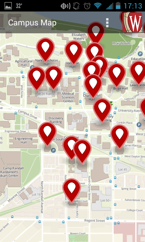A view of the campus map with a sample search displayed