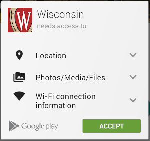 The permission requirements for Wisconsin App are displayed