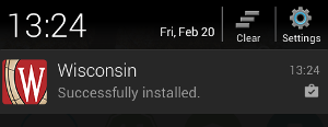 The Wisconsin App shows as successfully installed in notifications