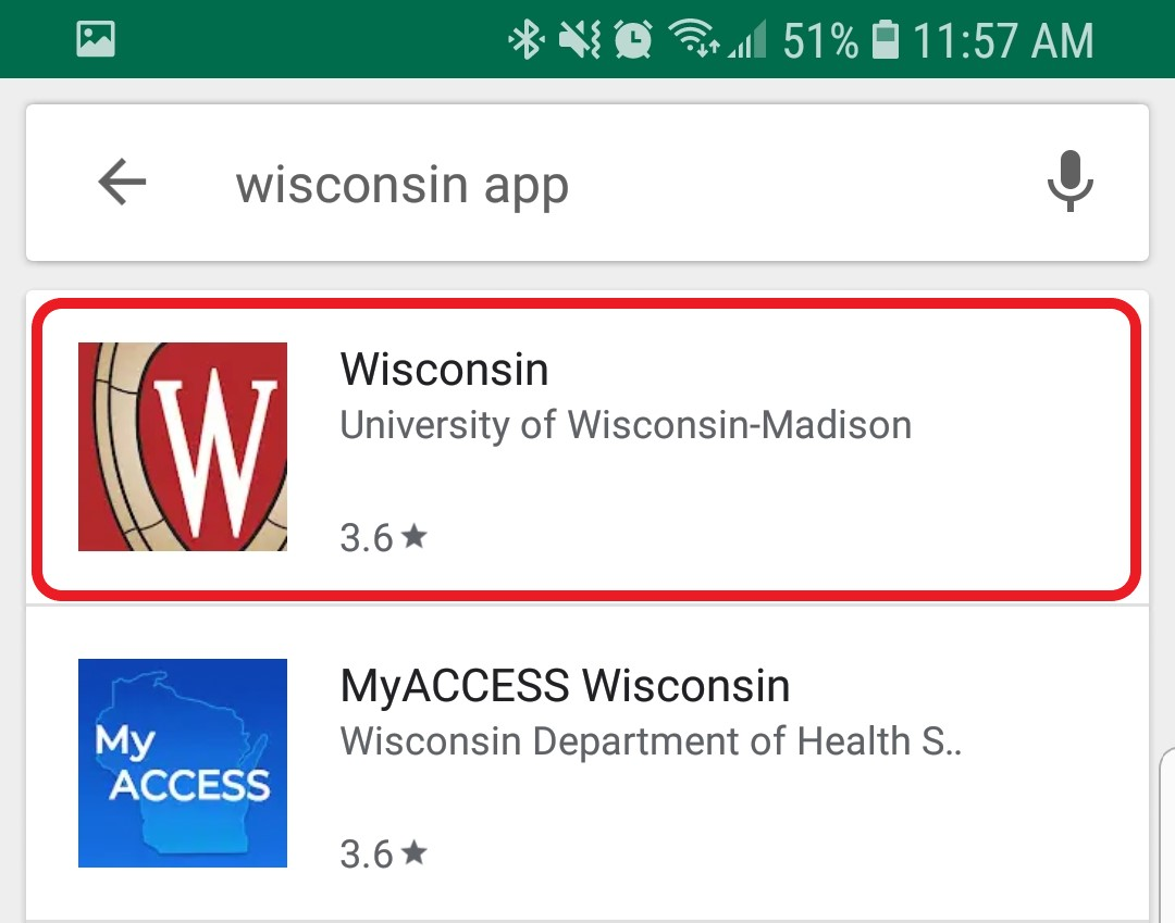 The search results for Wisconsin App are displayed
