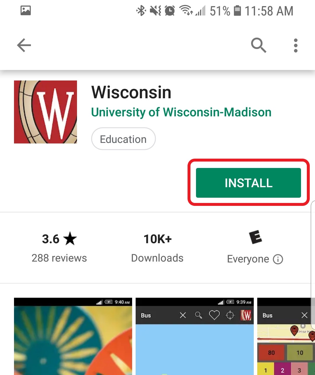 The application details for Wisconsin App are displayed