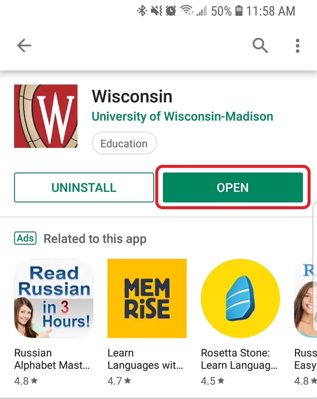 The Wisconsin App is ready to be opened