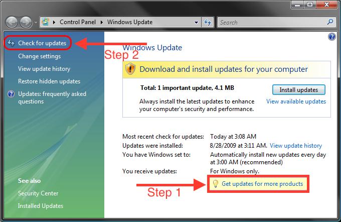 Vista check for updates