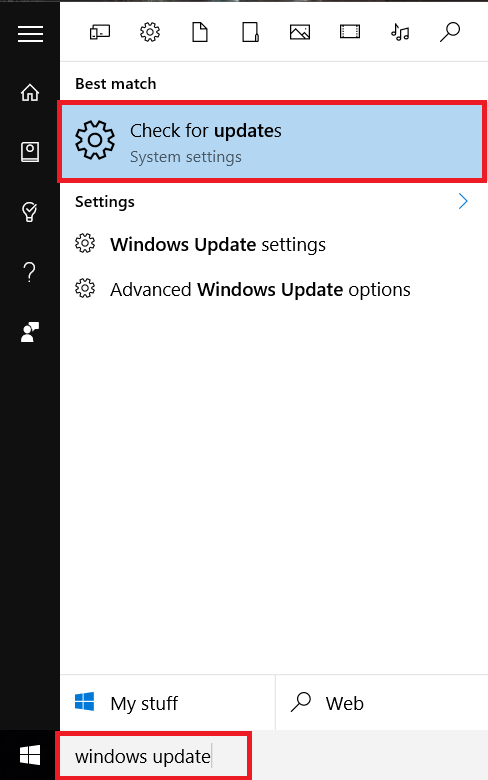 windows 10 check for update
