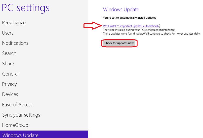 Windows 8 PC Settings - Updates