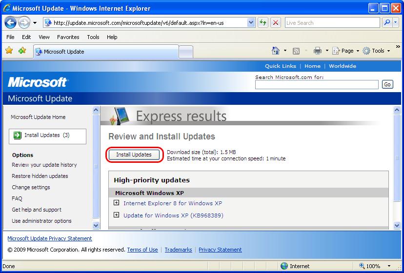 XP Install Updates
