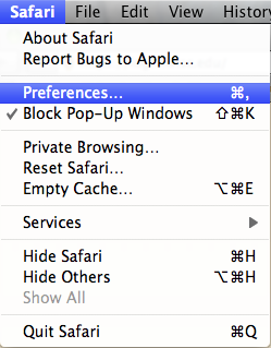 Go to Safari, then Preferences.