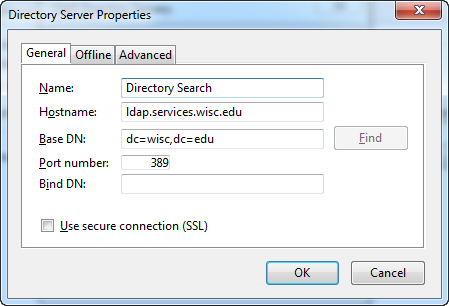 Directory Server Properties screen