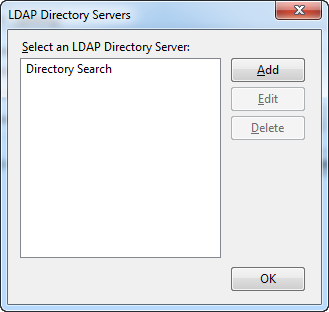 LDAP Directory Servers screen