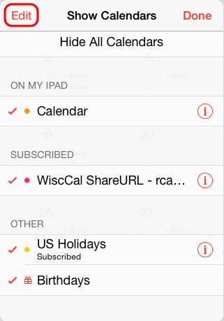 Edit button within Show Calendars screen