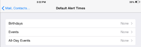 Default Alert Times screen