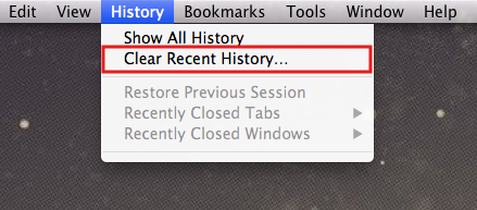 History tab: Clear Recent History