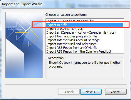 export to file selection
