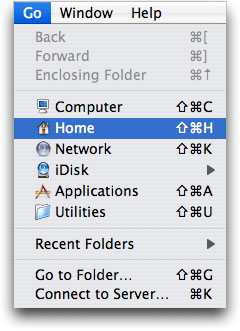 Go menu in Finder