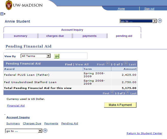 A list of pending financial aid