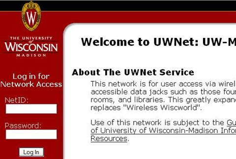 Wireless UWNet login page