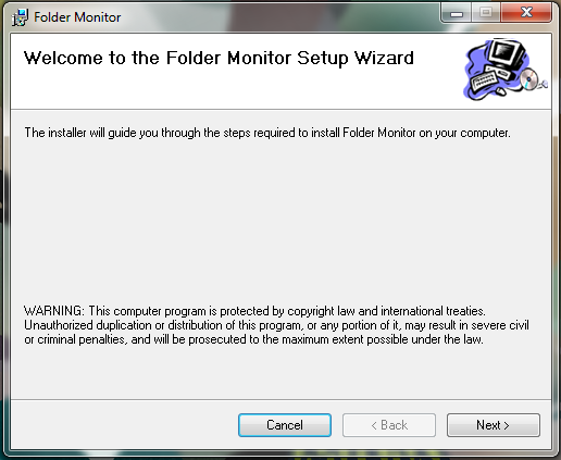 Folder Monitor install window