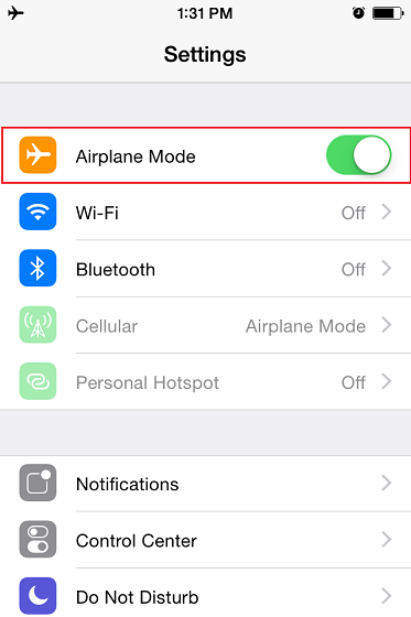 Turning on Airplane Mode