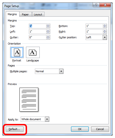 page setup dialog window