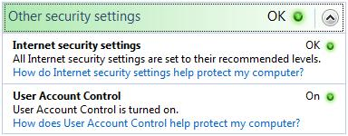 Windows Vista other security settings