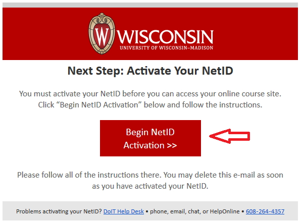 screenshot of e-mail sent with 'Begin NetID Activation button'