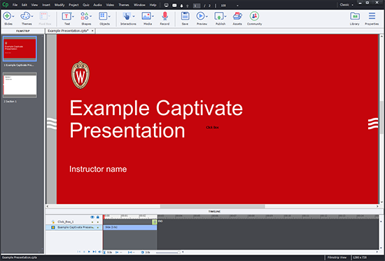 "An image of Adobe Captivate open with two slides in the playlist on the left and the timeline open on the bottom showing an ""Example Captivate Presentation"" with the UW-Madison theme"