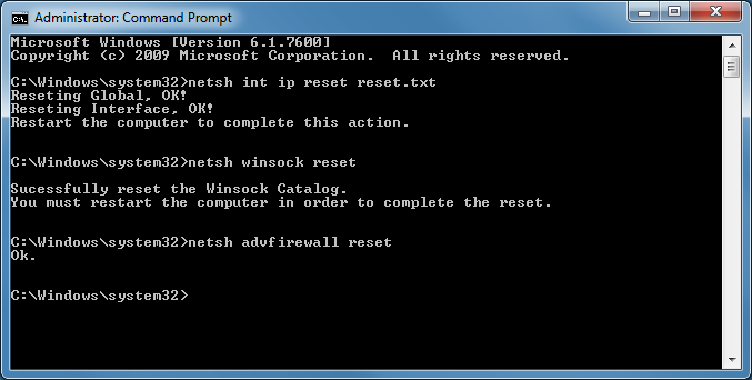 windows 7 netsh command