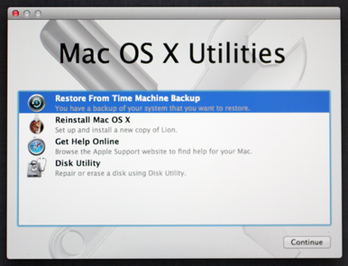 restore from time machine image