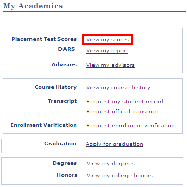 Click View My Scores on this screen to view your test scores