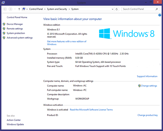 System Information in Windows 8.