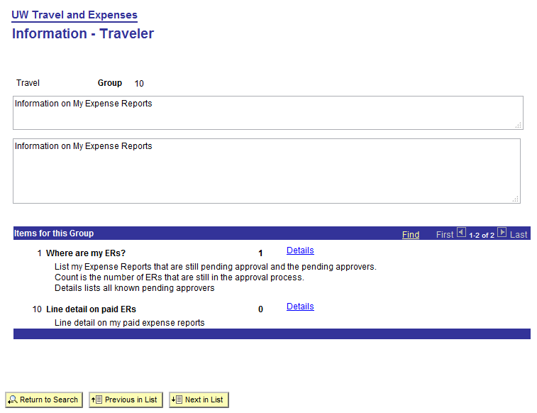Expense report information